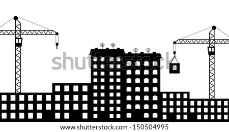 Vector illustration of  silhouette the construction of city - stock vector