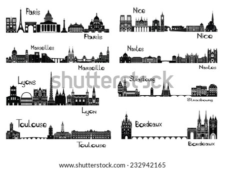 Vector illustration of silhouettes of cities of France - Paris, Marseilles, Lyons, Toulouse, Nice,  Nantes, Strasbourg, Bordeaux