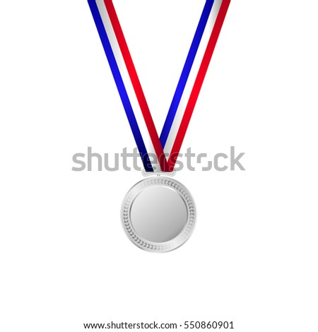 Vector illustration of silver medal with ribbon.