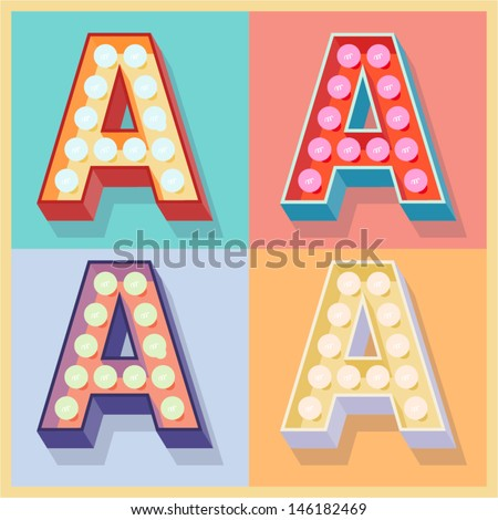 Vector illustration of simple and clear flat lamp alphabet. Letter a - stock vector