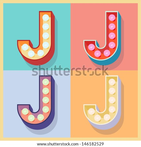 Vector illustration of simple and clear flat lamp alphabet. Letter j - stock vector