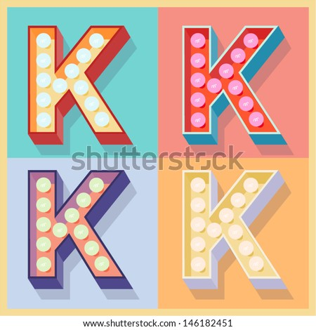 Vector illustration of simple and clear flat lamp alphabet. Letter k - stock vector