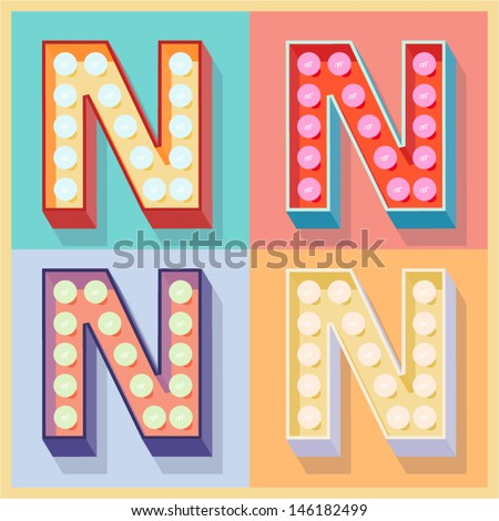 Vector illustration of simple and clear flat lamp alphabet. Letter n - stock vector
