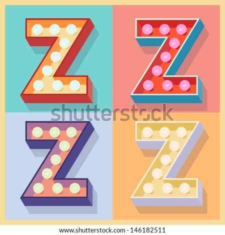 Vector illustration of simple and clear flat lamp alphabet. Letter z - stock vector