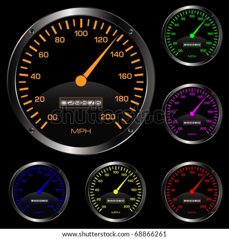 Vector illustration of simple speedometers in various colors
