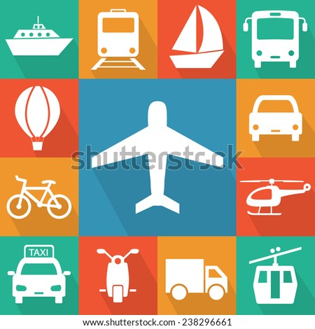 Vector illustration of simple transport related icons for your design - stock vector
