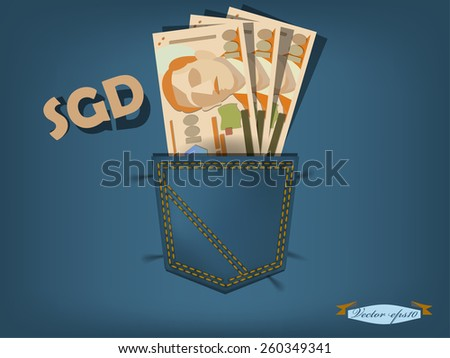 vector illustration of singapore dollars in the pocket of blue jeans - stock vector