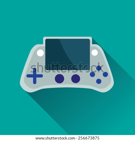 Vector illustration of single Portable Game Console flat icon in turquoise square background with diagonal shadow - stock vector