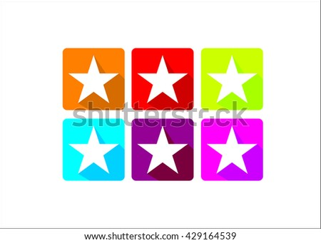 vector illustration of six colorful star icons - stock vector