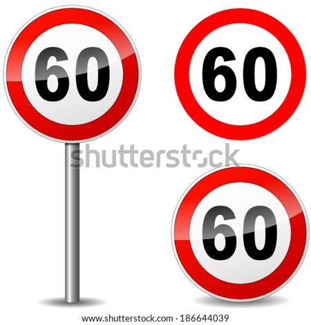 Vector illustration of sixty regulation sign on white background - stock vector