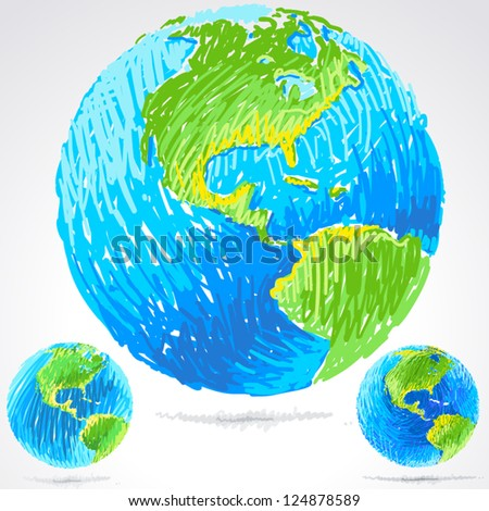 vector illustration of sketchy blue earth - stock vector