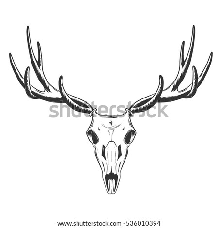 vector illustration skull deer tattoo design stock vector 536010394 shutterstock. Black Bedroom Furniture Sets. Home Design Ideas