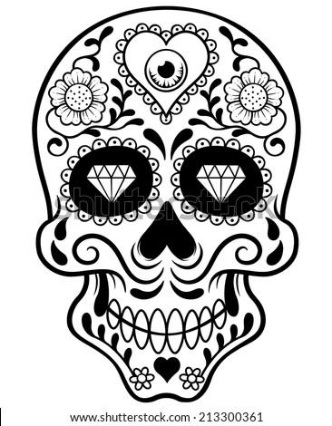 Vector illustration of Skull - Outline - stock vector