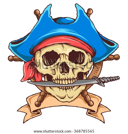 Vector Illustration Of Skull Pirate With Knife - stock vector