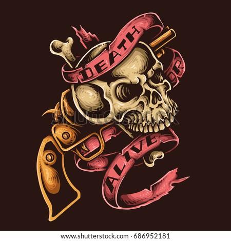 Vector illustration skull revolver gun ribbon stock vector 686952181 vector illustration of skull with revolver gun and ribbon tattoo style voltagebd Gallery