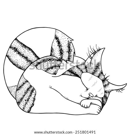 Vector illustration of sleeping little cat in graphic style - stock vector
