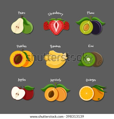 Vector illustration of sliced fruits and berries such as pear, strawberry, plum, peach, banana, kiwi,apple,apricot and orange - stock vector