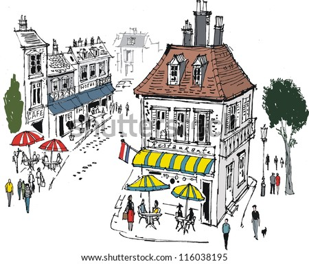 Vector illustration of small French village with cafes and people.