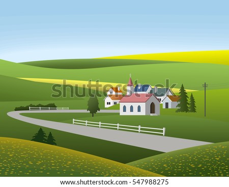 Vector illustration of small village landscape