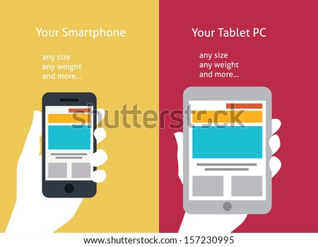 Vector illustration of smart phone and tablet (flat style) - stock vector
