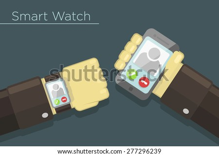 Vector illustration of smart watch and smartphone synchronization concept  - stock vector