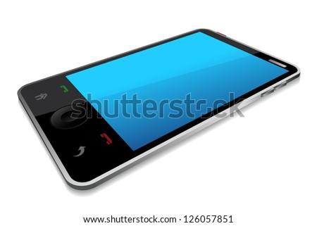 vector illustration of smartphone against white background - stock vector