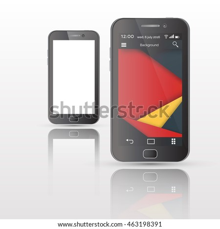Vector illustration  of Smartphones. UI  in material design style.  White screen.  Isolated on white background with reflections