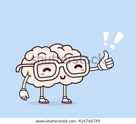 Vector illustration of smile pink brain with glasses and thumb up on blue background. Creative cartoon brain concept. Doodle style. Thin line art flat design of character brain for education, idea - stock vector