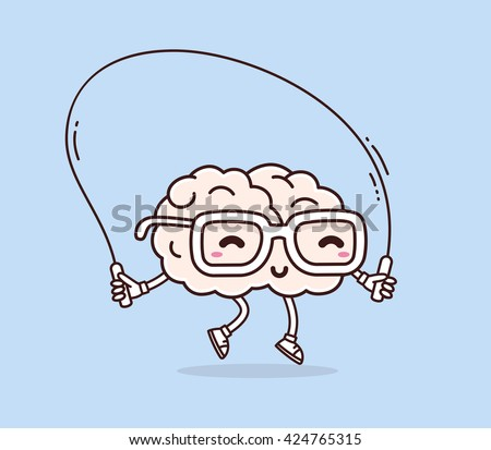 Vector illustration of smile pink brain with glasses jumping rope on blue background. Fitness cartoon brain concept. Doodle style. Thin line art flat design of character brain for sport, education - stock vector