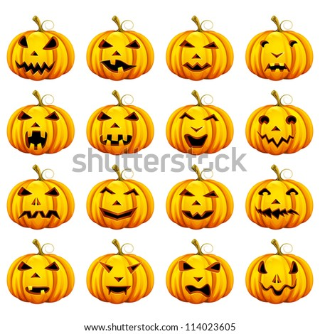 vector illustration of smiley collection of Halloween pumpkin