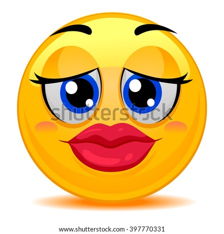 Vector Illustration of Smiley Emoticon Kissable Lips - stock vector