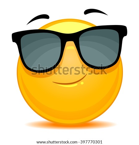 Vector Illustration of Smiley Emoticon wearing sunglasses - stock vector