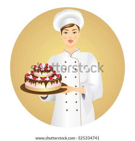 Vector illustration of smiling confectioner  with a fresh cake. - stock vector