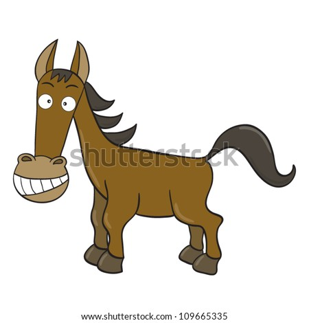 Vector illustration of smiling cute cartoon horse. - stock vector