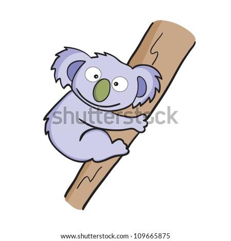 Vector illustration of smiling cute cartoon koala. - stock vector