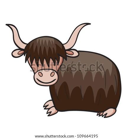 Vector illustration of smiling cute cartoon yak. - stock vector