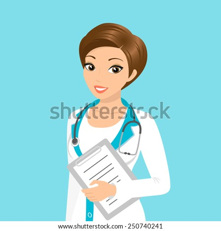 Vector illustration of smiling doctor with a folder in her hand - stock vector