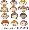 Vector illustration of smiling kids faces. Easy-edit layered vector EPS10 file scalable to any size without quality loss. High resolution raster JPG file is included. - stock