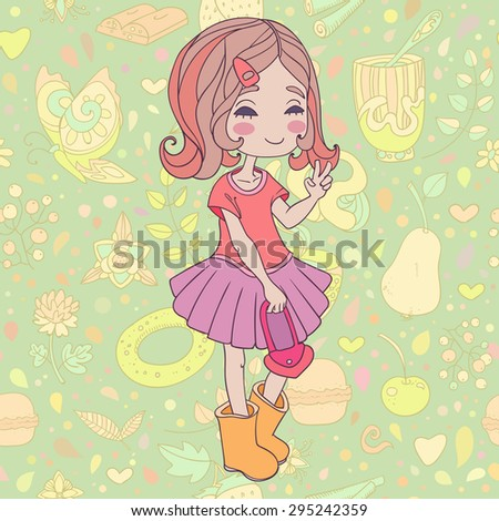 vector illustration of smiling pretty girl on decorative background - stock vector