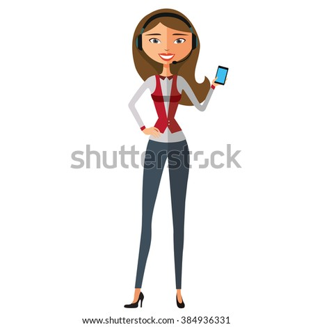 Vector illustration of smiling telephone operator. - stock vector