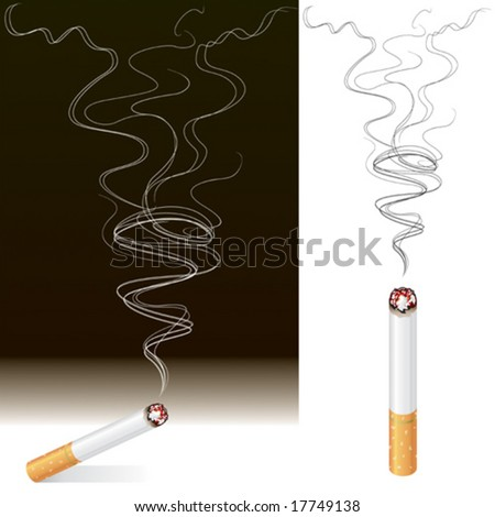 Vector illustration of Smoke and Cigarette design. - stock vector