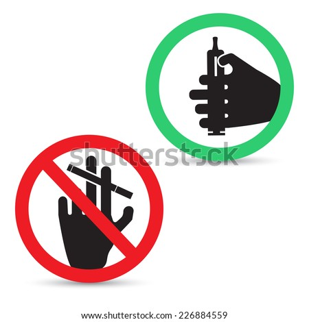 Vector illustration of smoking signs. Electronic cigarettes allowed  - stock vector