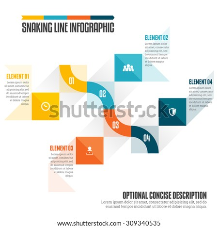 Vector illustration of snaking line infographic design element. - stock vector