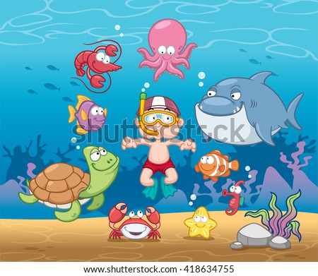Vector illustration of Snorkeling boy under the sea