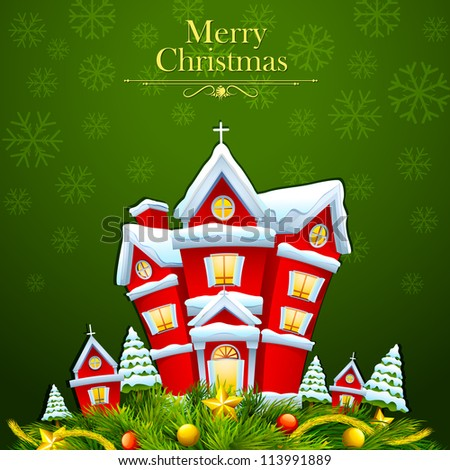 vector illustration of snow covered decorated house for Merry Christmas - stock vector