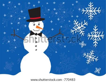 Vector illustration of snow scene with snowman. - stock vector