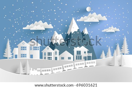 vector illustration of snow. The house and train in winter is covered with snow. There is a snowy mountain. paper art design
