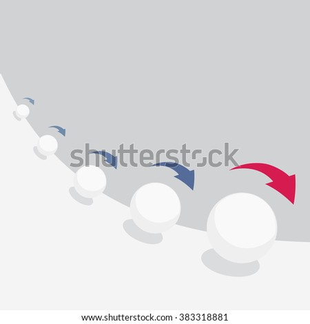 Vector illustration of snowball effect with arrows - stock vector