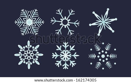 vector illustration of snowflakes set