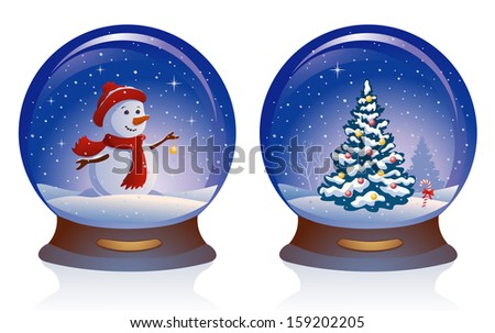 Vector illustration of snowglobes with a cute snow man and a Christmas tree, isolated on white background - stock vector